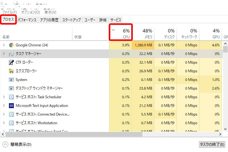 タスクマネージャー詳細画面